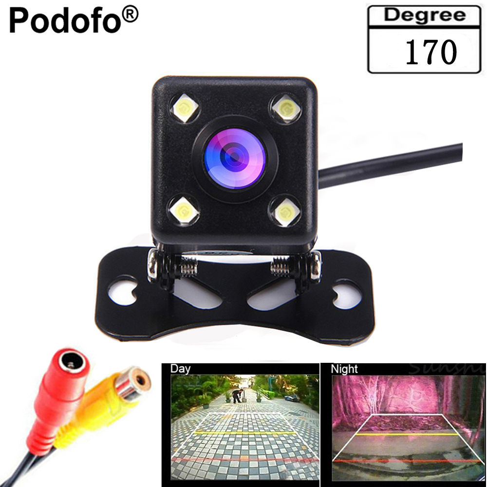 Podofo impermeable universal de 170 grados lente gran 4 LED coche cámara de visión trasera ayuda del estacionamiento del vehículo visión nocturna, línea de estacionamiento