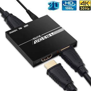HDMI Splitter 1 in 2 out Aluminum Ver1.4 HDCP 4K HDMI 1x2 Switcher 3D 1080P High Quality