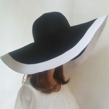 Hot 2017 fashion women Beach hats for women summer straw hat beach cap sun hats Sexy  ladies Black and white large brim hat