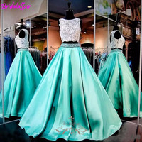 Two Pieces Evening Dress Lace Crystal Party Gown 2018 Prom Dresses Plus Formal Women Long Dress Evening Floor Length Satin Dress
