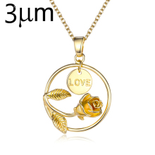 Fashion initial rose flower personalized disc necklace for women newest fashion jewellery gift charm