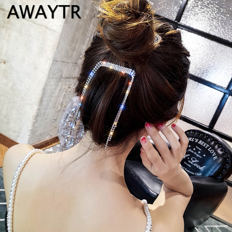 AWAYTR Fashion Rhinestone Tassel Hair Barrettes For Women Hair Clips Golden Sliver Hairpin Female Hairgrips Hair Accessories