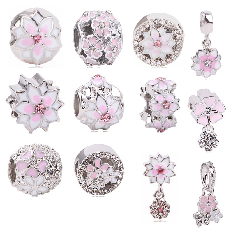 dodocharms Fashion Flower Silver European CZ Charm Beads Fit Pandora Charm Bracelet Pendant Necklace DIY Jewelry Originals
