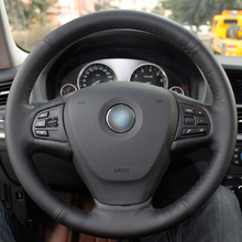 цены на Hand sewing custom Black Leather Car Steering Wheel Cover for BMW F25 X3 2011-2017 F15 X5 2014  в интернет-магазинах