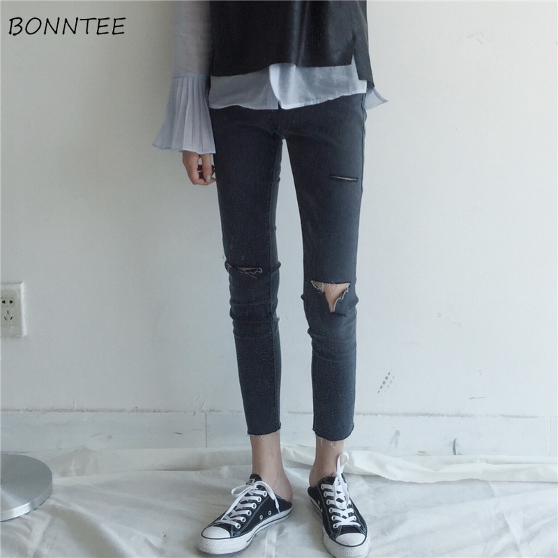 Jeans Women Skinny Hole Trendy High Waist Pencil Trousers Korean Style All-match Daily Students Zipper Casual Womens Fashion New