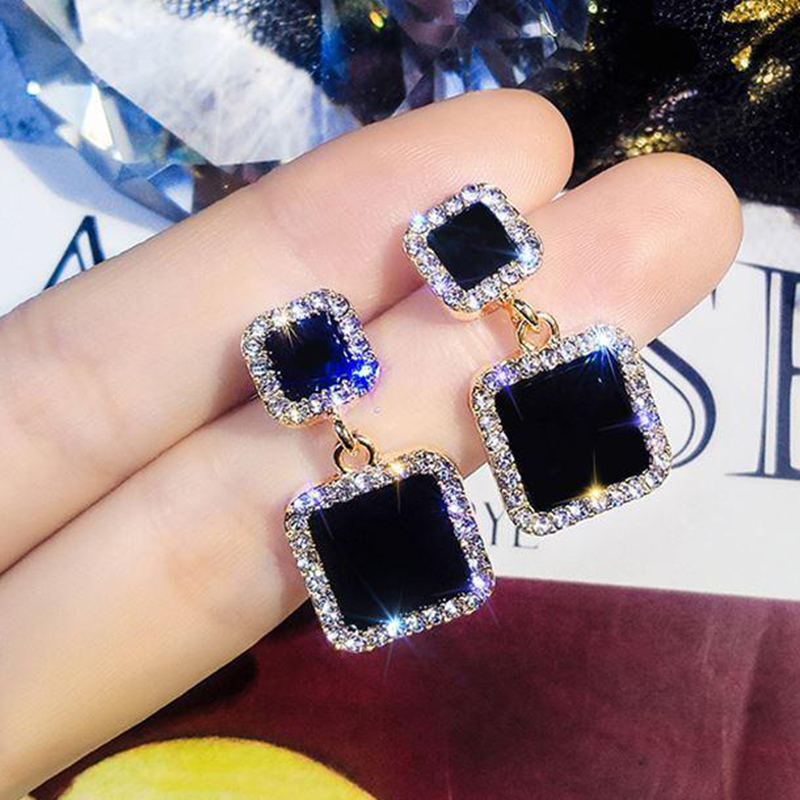 IPARAM Trend Korean Black Square Rhinestone Earrings 2020 Fashion Crystal Geometry Female Pendant Earrings Jewelry