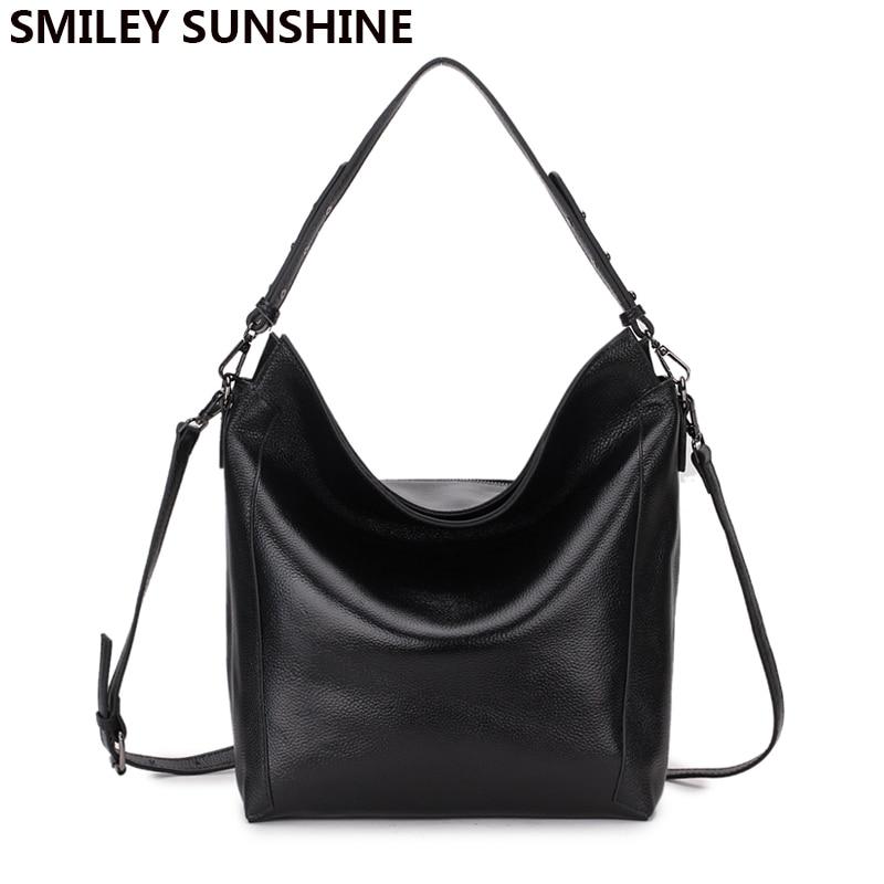 SMILEY SOLEIL 100% réel souple véritable cuir femmes sac à main grand épaule sac femelle noir bandoulière sacs dames hobos sacs 2018