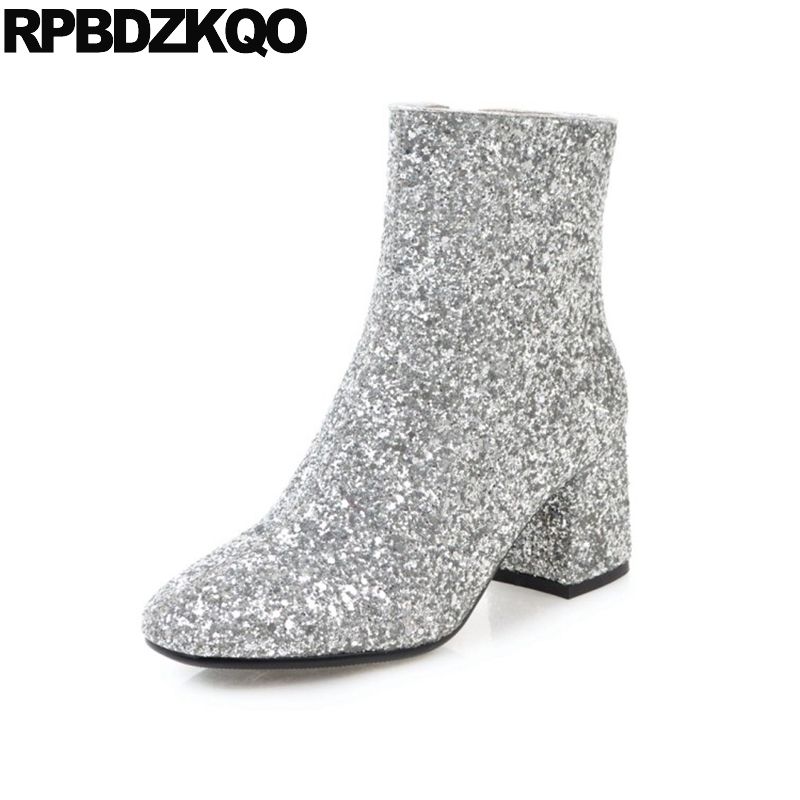 Women Boots Winter 2017 Shoes Big Size Wedding Glitter Bling Booties Ankle 11 High Heel Gold Chunky Silver Square Toe 10 Sequin