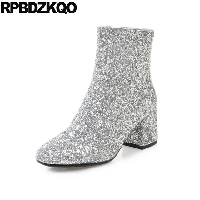 Women's Sequined Square-Toe Chunky Heel Glitter Bootie