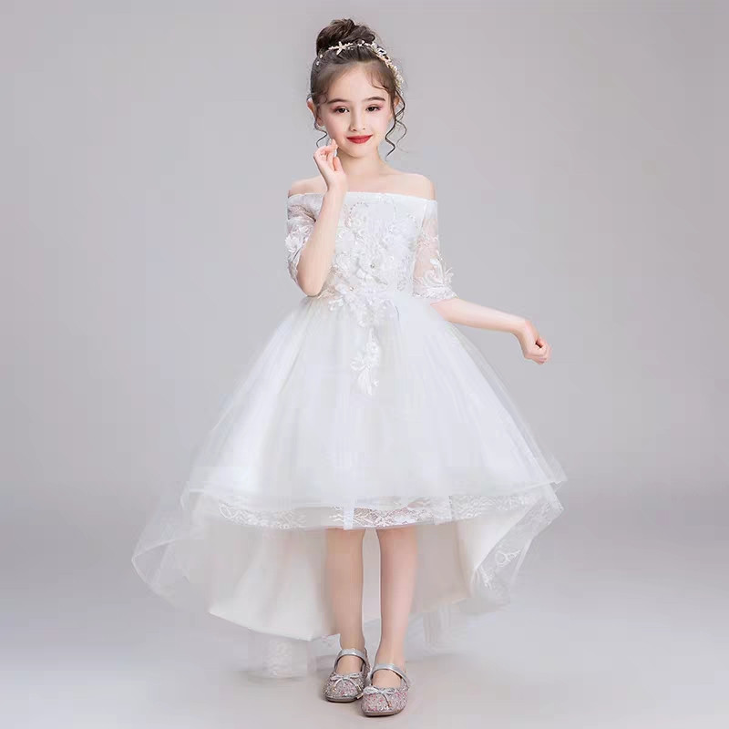 Children Girls Solid White Color Spring Summer Birthday Wedding Birthday Dress Kids 4-14Y Baby Girls Host Pageant Dress ClothesChildren Girls Solid White Color Spring Summer Birthday Wedding Birthday Dress Kids 4-14Y Baby Girls Host Pageant Dress Clothes