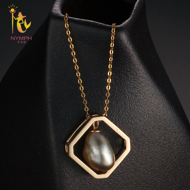 [NYMPH] Natural Sea Pearl Necklace Pendant 9-10mm Tahitian Pearl Baroque Pearl Pendant Trendy Party Gift For Women D303 trendy layered rhinestone faux pearl necklace for women