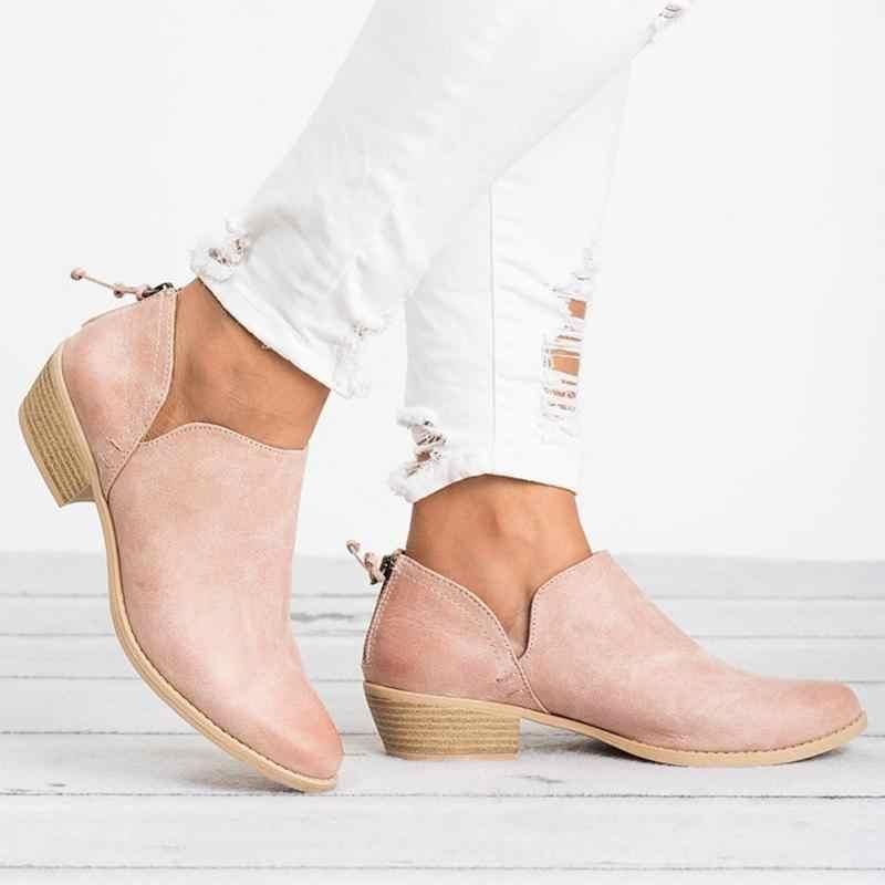 Giày Bốt Nữ 2019 Thu Đông Giày Nữ Giày Nữ Thương Hiệu Mắt Cá Chân Gót Đi Giày Người Phụ Nữ Da Lộn Da Bò