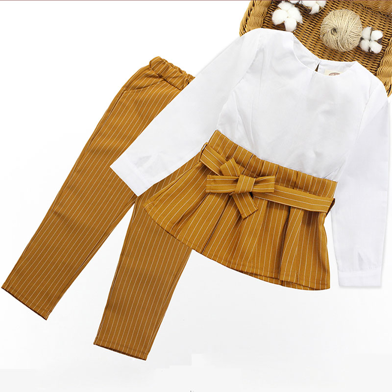 Fashion Girl Clothes 2019 Autumn Spring Girls Clothing Sets Long Sleeve Bow Belt Tops+Stripe Pants 2pcs Kids Suits