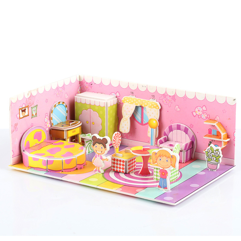 3D Castle Architecture Jigsaw Puzzle Model Paper DIY Construction Houses Pattern Gift Children Baby Toy Kids Early Learning
