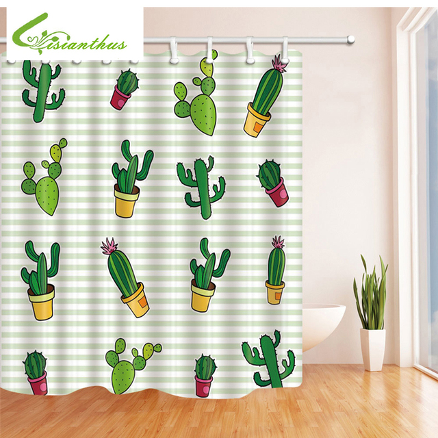 180CM180CM Polyester Fabric Bath Curtain Wholesale Cactus Plants Pattern Waterproof Mildew Shower Bathroom