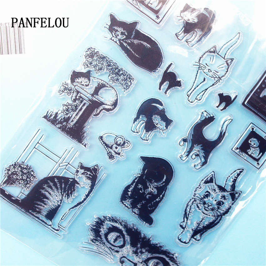 PANFELOU The lovely cat Clear Stamp DIY Silicone Seals Scrapbooking/Card Making/Photo Album Decoration Supplies sheets lovely animals and ballon design transparent clear silicone stamp for diy scrapbooking photo album clear stamp cl 278