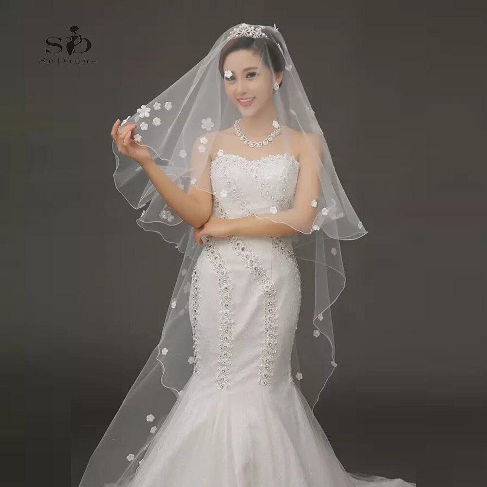 Wedding Veil Flowes 2.5meter Elegant Luxury Long Wedding Veil Bridal Veils Cheap Wedding Accessories In stock