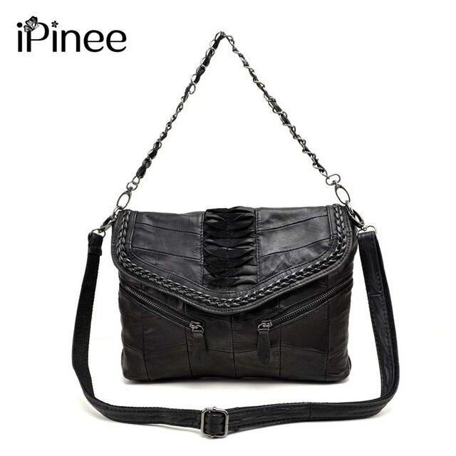 c0c97530072d IPinee модные из натуральной кожи Для женщин сумки пэчворк овчины Для  женщин сумка известный бренд высокое