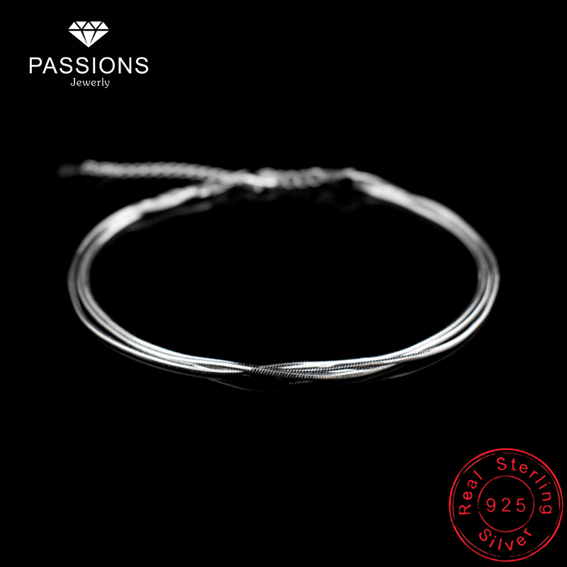 Hot Sale Sexy Beach Multilayer Snake Bones Anklets Foot Chain 925 Sterling Silver Foot Anklet Bracelet For Fashion Women Jewelry