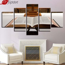 AtFipan Wall Art Framework 5 Pieces Literals And Book Modular Painting Poster Canvas Picture Decoration Home For Living Room