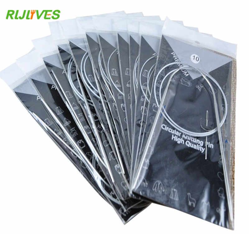RLJLIVES 11 Pcs 80 cm Stainless Circular Knitting Needles Circular Knitting Pins Crochet Weaving Pins Needlework Tools