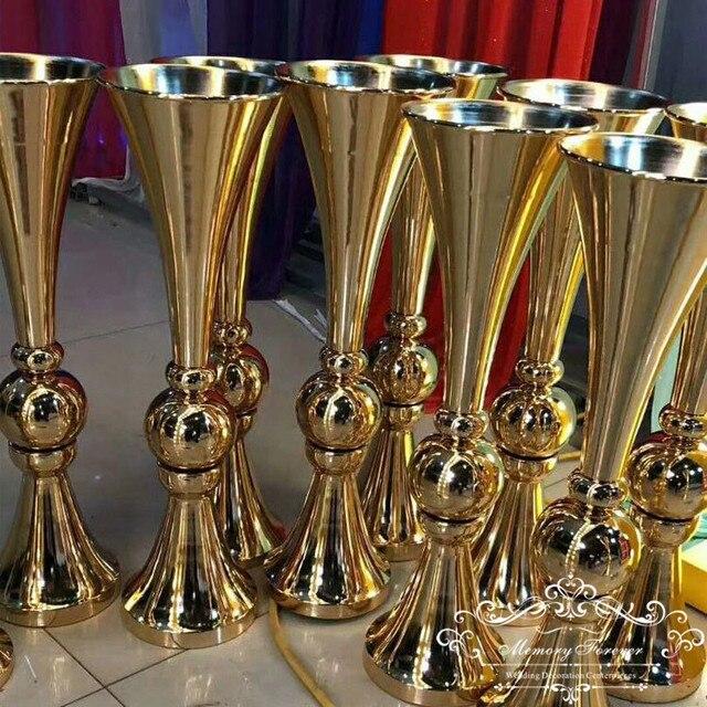 New Arrival Elegant Trumpet Vases Table Centerpiece Wedding Decorations Gold Silver Metal Flower Vase & New Arrival Elegant Trumpet Vases Table Centerpiece Wedding ...