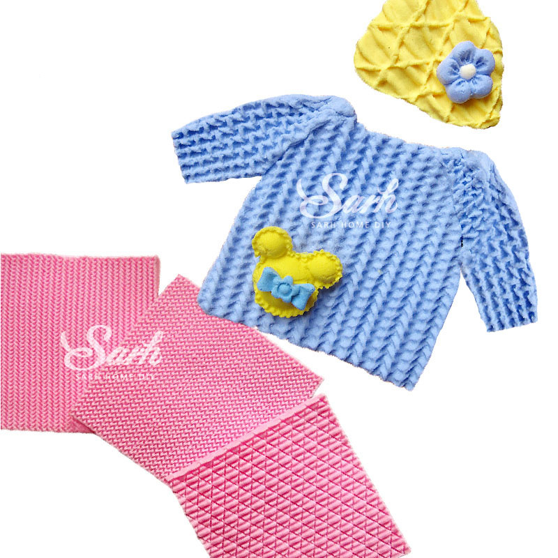3 unids/lote Suéter Tejido de Punto Textura Decoración Muñeca Modelado Pastel Fo