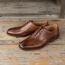 QYFCIOUFU Fashion Genuine Leather Men Oxford Shoes Lace Up Casual Business Men Shoes Square Toe Shoes Flats Dress Shoes For Men
