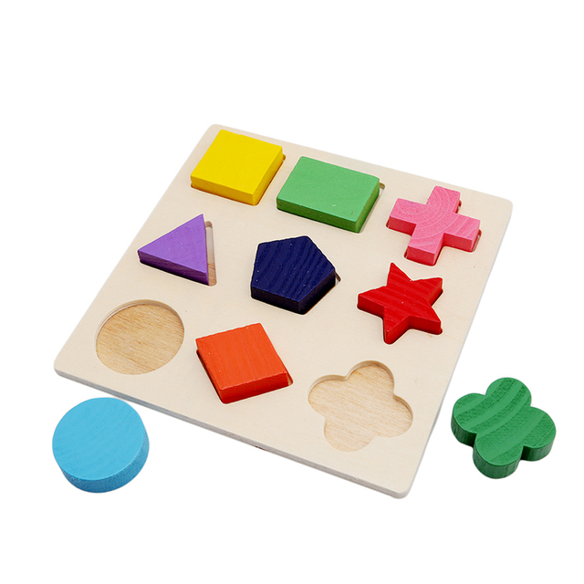 Bebé bloques de construcción de madera Montessori primeros juguetes educativos geometría intelectual juguete MU974477
