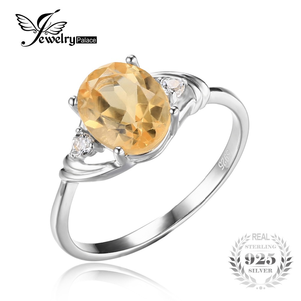 JewelryPalace 925 Silver Store JewelryPalace 3 Stone 1.8ct Oval Genuine Citrine White Rock Crystal Aniversary Promise Ring 925 Sterling Silver Fine Jewelry