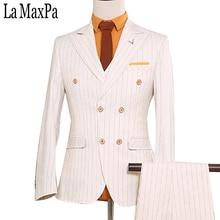 LA Maxpa (jacket+pants+vest) New brand men suit male suit for wedding spring autumn white stripe casual slim fit prom party suit