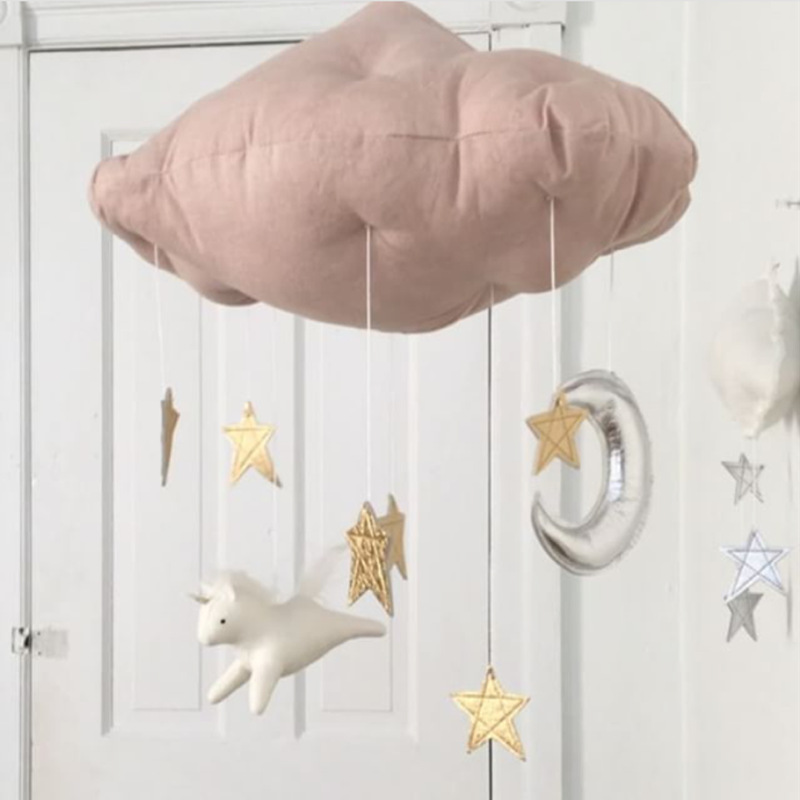 Ins Nursery Decor Moon And Stars Mobile Hanging Cloud Star Baby Kids Room Decorative Shower Gift In Wind Chimes