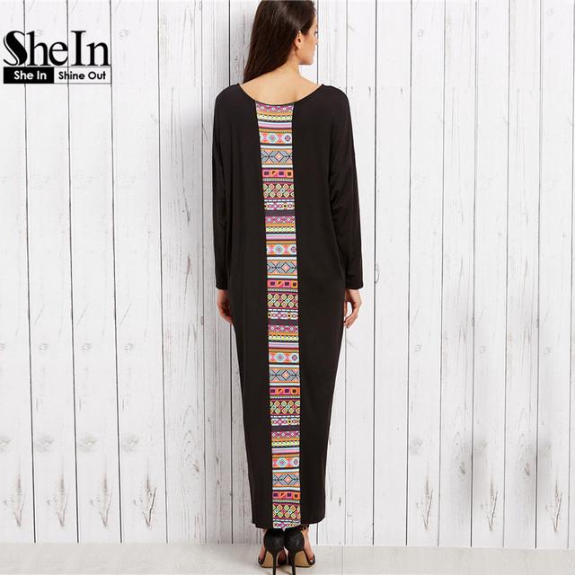 SheIn Maxi Dresses Long Women Clothing Vintage Black Tribal Print Scoop Neck Drop Shoulder Long Sleeve Loose Maxi Dress
