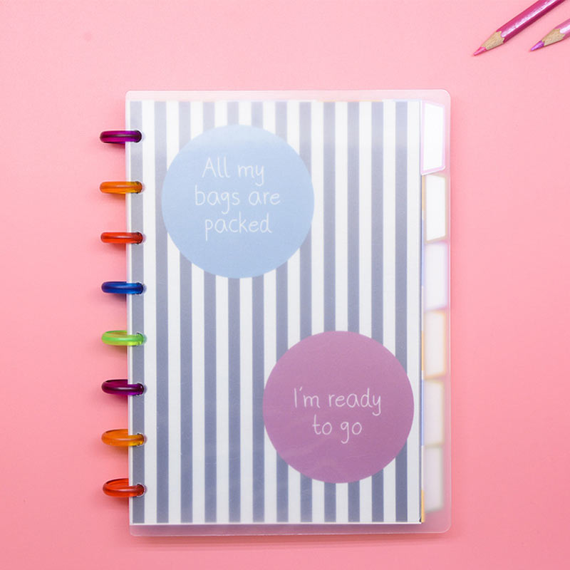 Yiwi 80 Sheets A5 B6 Bullet Journals Discs Ring Bound Spiral Notebook Happy Planner Diary With Flower Blank Refill School