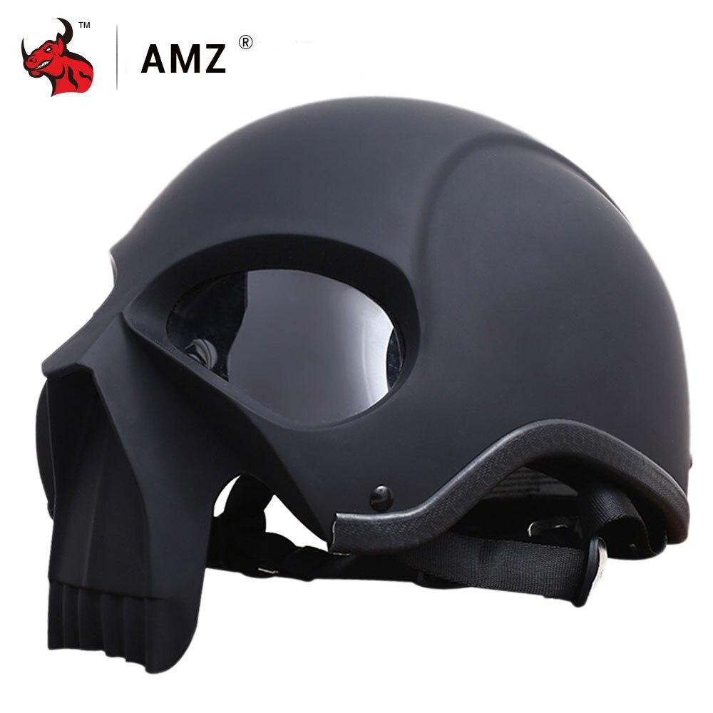 AMZ Rétro Moto Casque Ouvert Visage Vintage Casco Moto Rétro Hommes Personnalité Crâne Moto Casque Moto La Moitié Du Visage Casque