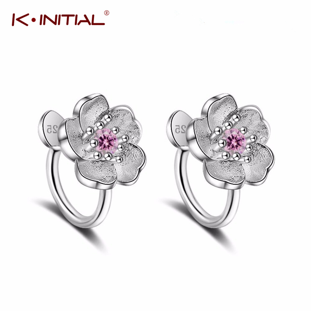 Kinitial  Darling Cherry Flowers Earrings With Crystal For Girl Cute Ears Simple Chic Clip Earring Jewelry Non Piercing