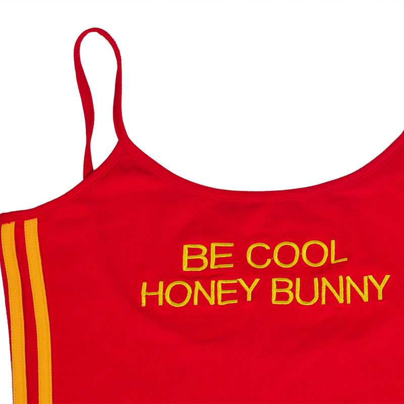 0d57a48426 Sexy Bodysuit Women BE COOL HONEY BUNNY Pulp Fiction Letter Embroidery Body  Feminino Romper Sleeveless Bodycon Jumpsuit Playsuit