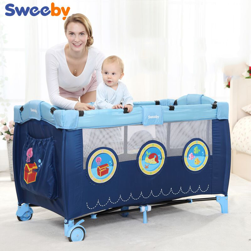 2018 En Trolley Sale Cribs For Twins Babies Baby Beds Sweeby Bed Folding Child Game Concentretor Fashion Multifunctional Bb стоимость