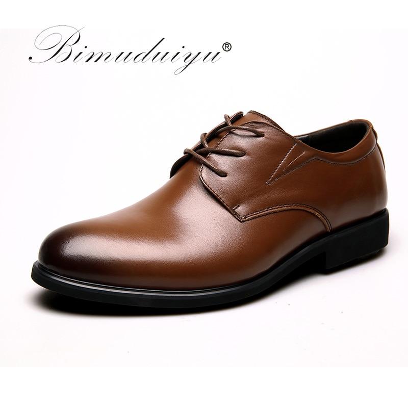 BIMUDUIYU 100 Genuine Leather Mens Dress Shoes Big Size 38 47 Oxford Shoes Brand Men Wedding