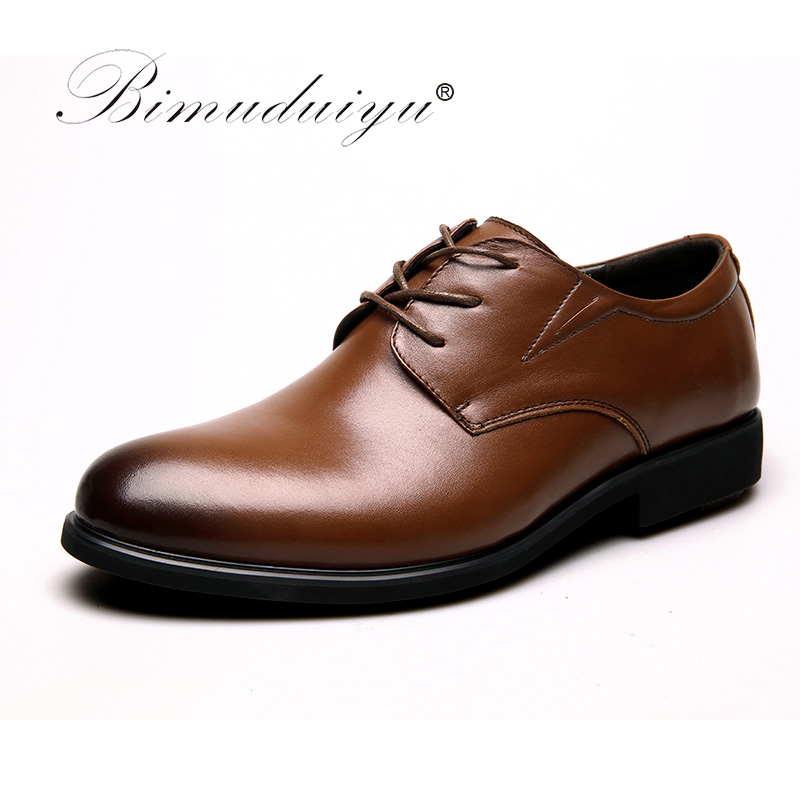 BIMUDUIYU 100% Genuine Leather Mens Dress Shoes Big Size 38-47 Oxford Shoes,Brand Men Wedding Shoes,Lace-Up Business Men Shoes
