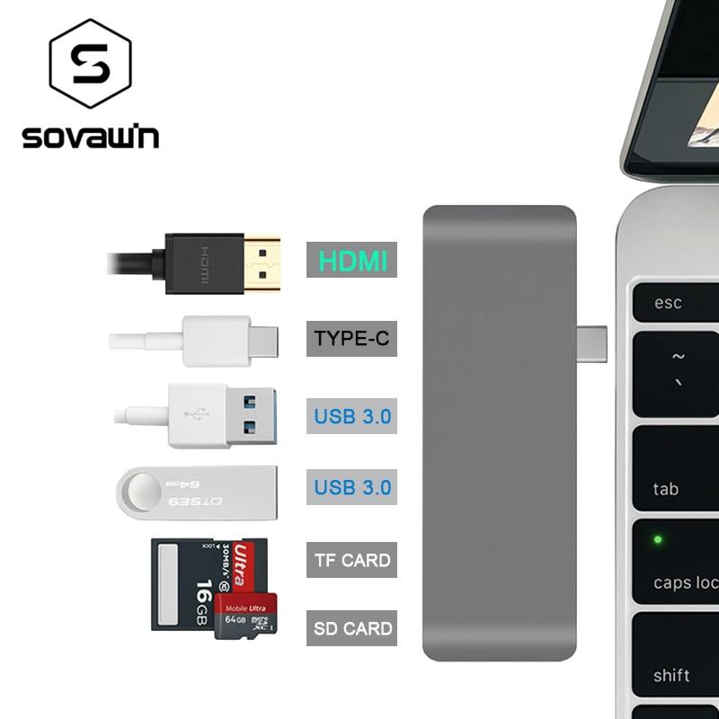Aluminum Alloy 4K HDMI USB-C Type-C USB 3.0 Hub Splitter Adapter TF / Micro SD Card Reader for imac for macbook pro 2015 2016