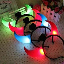 2016 New funny Headband Light-Up Toy Dance Costume Prop LED Devil Horn with Flashing Light up