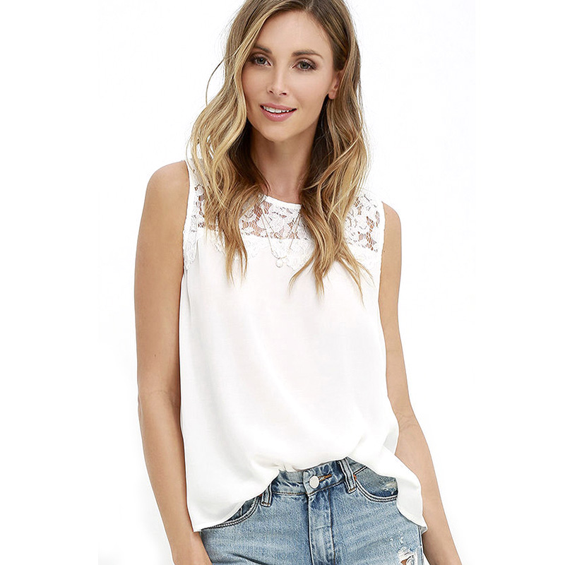 Women Solid Blouses Sleeveless Tops Summer Sexy Camis Chiffon women Shirts Hollow Out Casual O Neck Blouses KH987239