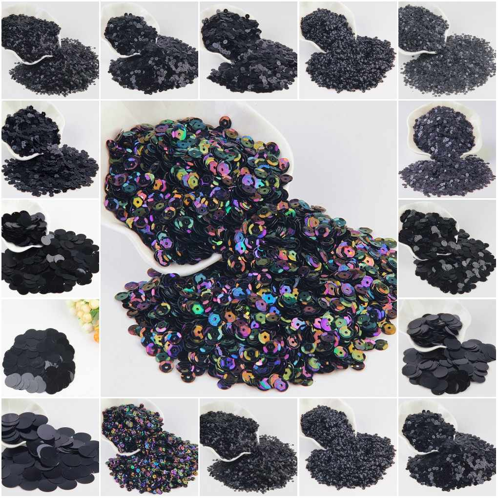 Paillette Black Sequin 3mm-30mm Pvc Flat Round Dull Polish Sequins Paillettes Sewing Wedding Craft Women Garments Accessories