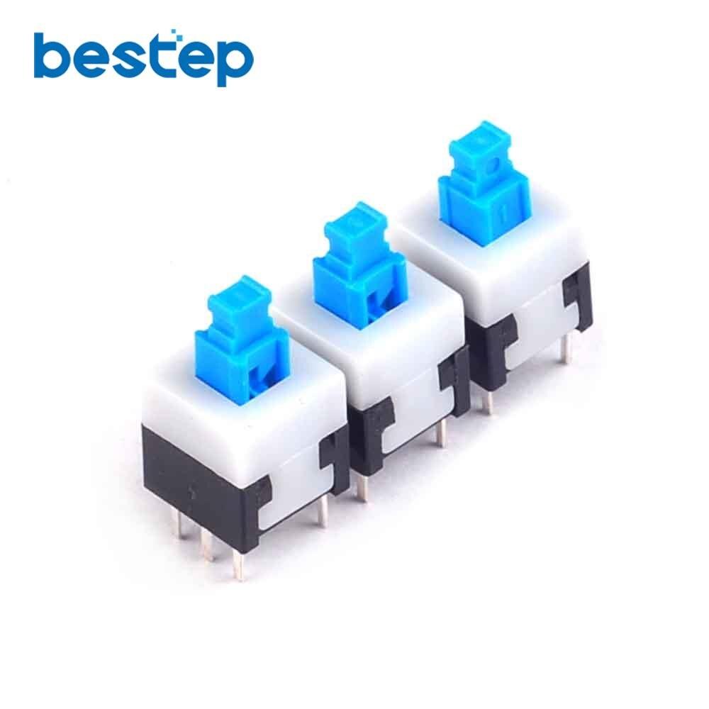 50PCS 8*8 Self Locking Switch 8mm X 8mm Miniature Self-locking Switch Push Rectangle Button 6Pin