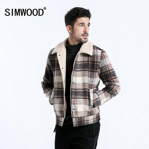 SIMWOOD 2019 Winter Men Jackets Fashion Plaid Casual Blends Jackets Warm Coats Men Outwear Brand Jacket abrigo hombre 180604 Lahore