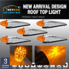 KEYECU 5x 17 LED Amber Chrome Torpedo Cab Marker Clearance Roof Running Top Light Assembly For