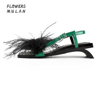 Summer New Brand Women Red Green Feather Synthetic Fur Cheap High Quality Strange Style Heels Buckle Strap Low Heel Sandals