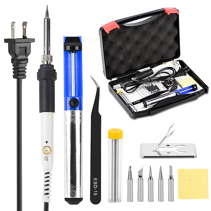 Kit de ferro de solda 60W JCD 110V 220V Temperatura Ajustável Mão ferramentas dicas de solda de solda de solda fio Desoldering kits de bomba