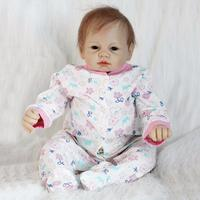 Realistic About 22 Handmade Lifelike Newborn Baby Doll Reborn Soft Silicone Vinyl Hair Rooted Gift for Girl or Boy